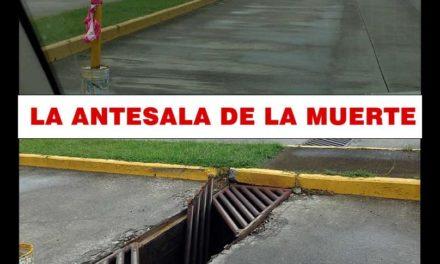 COLADERA COLAPSADA PODRÍA OCASIONAR UN FATAL ACCIDENTE