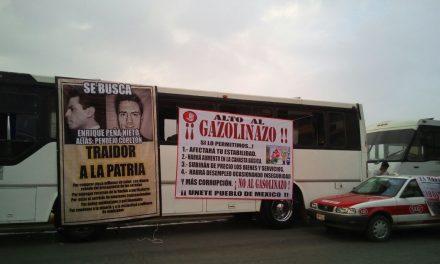 Transportistas cumplen con  manifestarse,  dicen no al «GASOLINAZO»