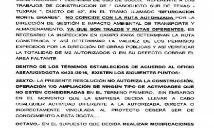 Cancelan permiso de construcción y licencia de uso de suelo del Gasoducto