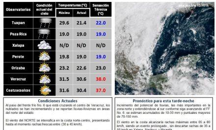 Actualización del tiempo en Veracruz 16-OCT