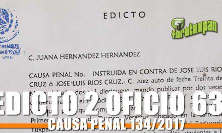EDICTO 2 OFICIO 639 CAUSA PENAL 134/2017