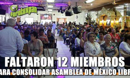 Faltaron 12 Miembros para consolidar la Asamblea de México Libre
