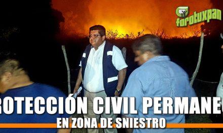 Protección Civil se mantiene permanente en zona de siniestro