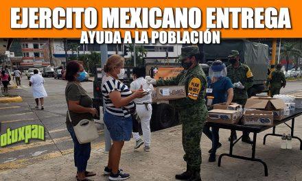 Ejercito Mexicano entrega ayuda en el Centro de Tuxpan