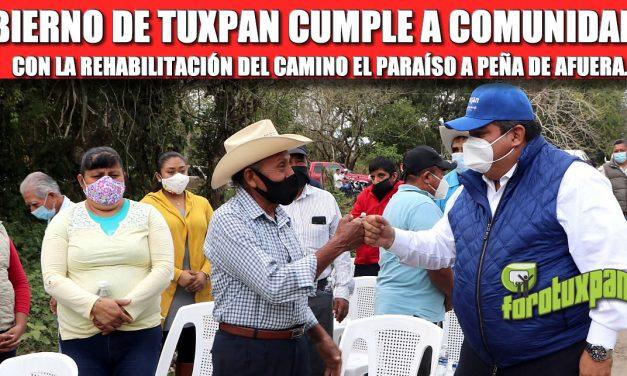 GOBIERNO DE TUXPAN CUMPLE A COMUNIDADES CON LA REHABILITACIÓN DEL CAMINO EL PARAÍSO A PEÑA DE AFUERA.