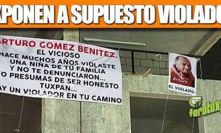 Con LONA Exponen a supuesto Violador en Tuxpan