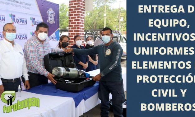ENTREGA DE EQUIPO, INCENTIVOS Y UNIFORMES A ELEMENTOS DE PROTECCIÓN CIVIL Y BOMBEROS